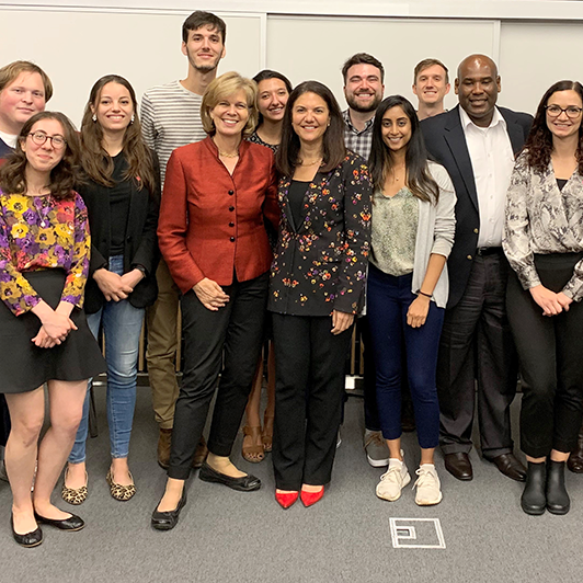 Mary Ellen Iskenderian, President and CEO of Women's World Banking, and her Fels students
